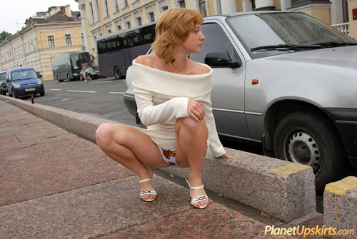 Public upskirt panties of a shy teen girl